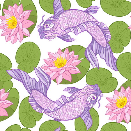 Seamless pattern with Japanese carps and traditional Japanese st Иллюстрация