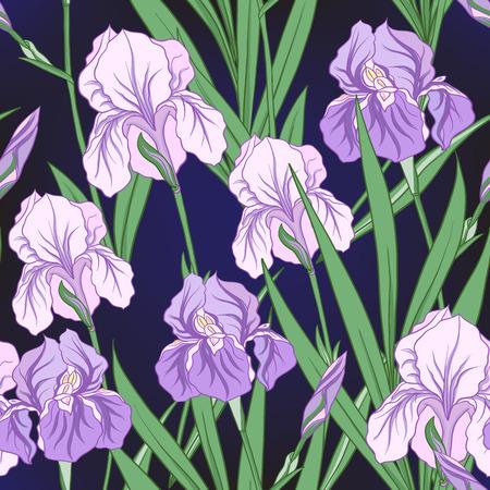 紫アイリスを和風にしたシームレスな柄。ベクトルストッキングス