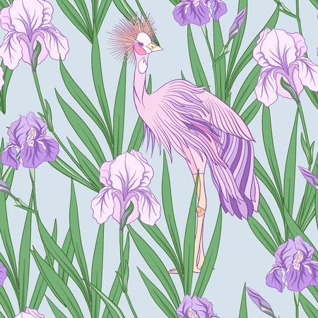 Modèle sans couture avec iris pourpre dans un style japonais. Vecteur stoc Banque d'images - 86422605