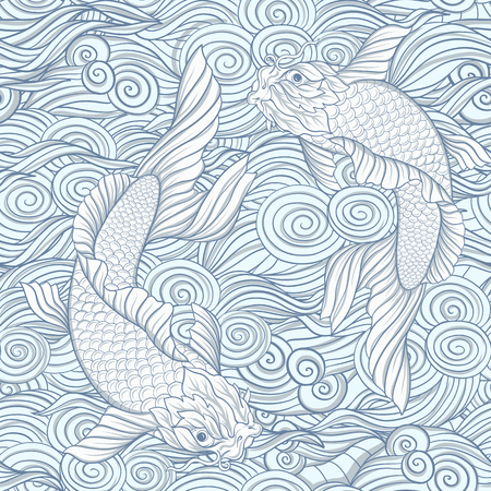 Seamless pattern with Japanese carps and traditional Japanese pa Vettoriali