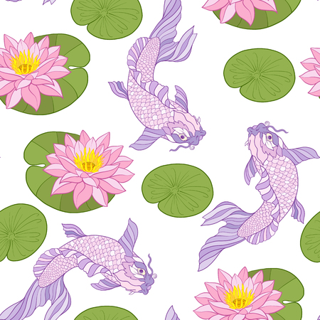 Seamless pattern with Japanese carps and traditional Japanese st Illustration