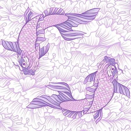 Carps and flowers pattern. 免版税图像 - 86422608