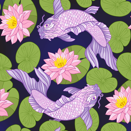 Carps and flowers pattern. 版權商用圖片 - 86422610