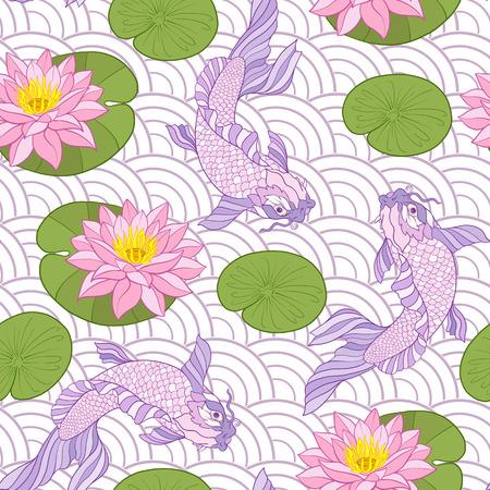鯉と花のパターン。