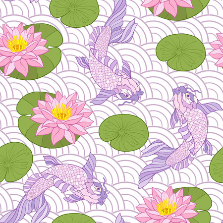 Carps and flowers pattern.