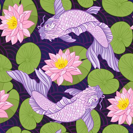 鯉と花の柄。