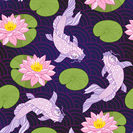 Carps and flowers pattern. 版權商用圖片 - 86422620