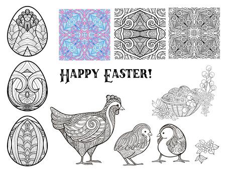 Set of Happy Easter symbols. Çizim