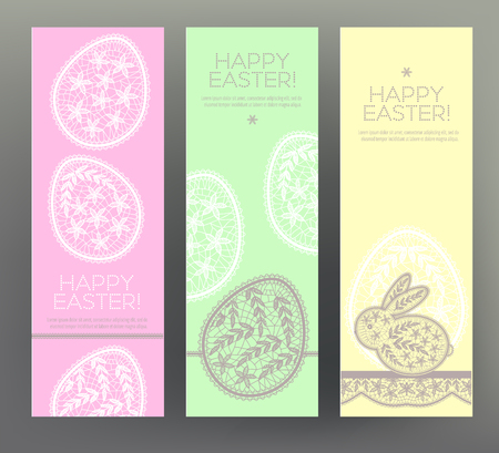 Set of Happy Easter banners. Çizim