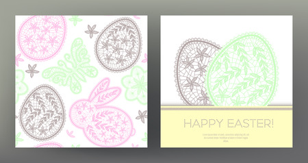 Set of Happy Easter postcards.