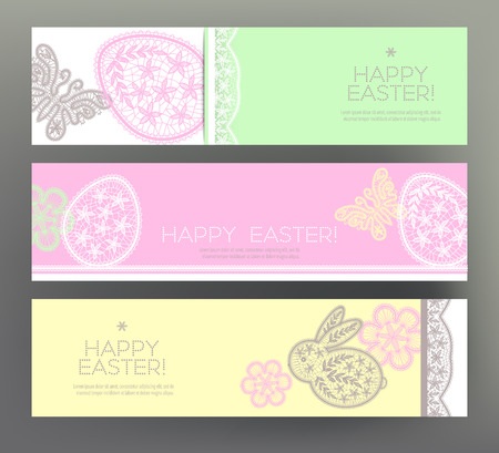 Set of Happy Easter banners. Illustration