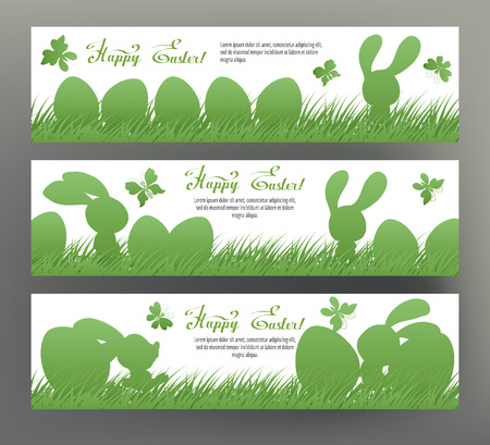 Set of postcard or banner for Happy Easter Day with eggs and cut