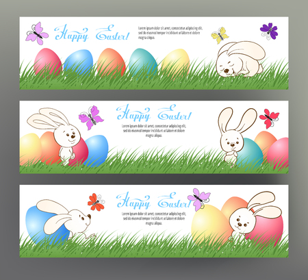 Set of postcard or banner for Happy Easter Day with colored eggs