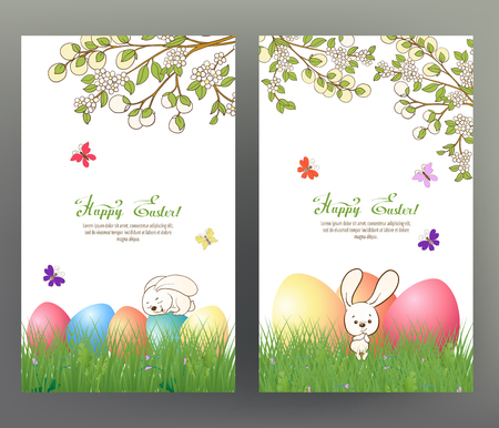 Set of postcard or banner for Happy Easter Day with colored eggs Stock Vector - 86422656