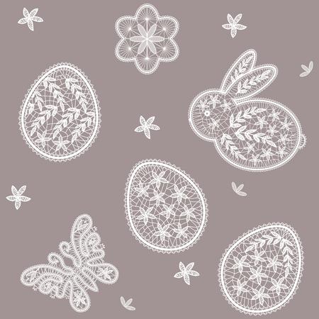 Naadloos patroon voor Gelukkige Pasen-Dag met kanteieren, vlinder