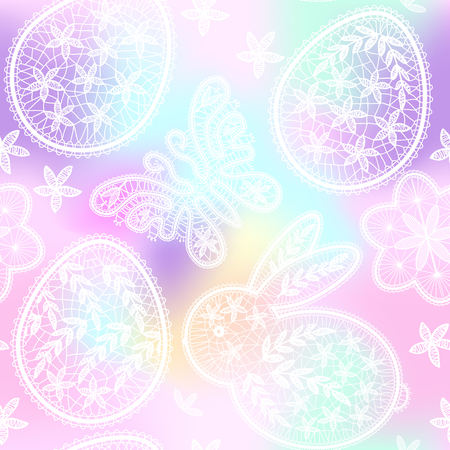 Seamless pattern for Happy Easter Day with lace eggs, butterfly