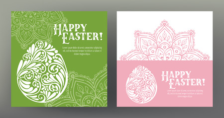 Set of postcard or banner for Happy Easter Day with eggs and dec Illustration