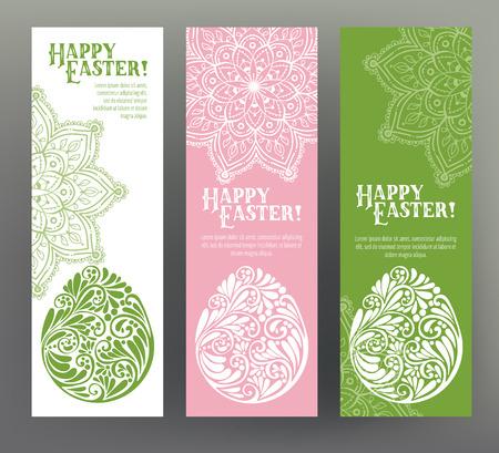 Set di cartolina o banner per Happy Easter Day con uova e dec