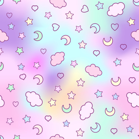 シームレス パターン雲、月、星と落書きカー 写真素材 - 86865612