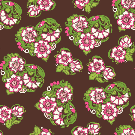 Seamless floral vintage pattern in spring green and pink colors.