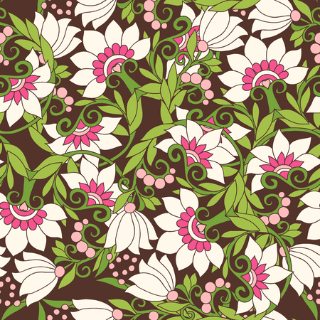 Seamless floral vintage pattern in spring green and pink colors. Stock line vector illustration.