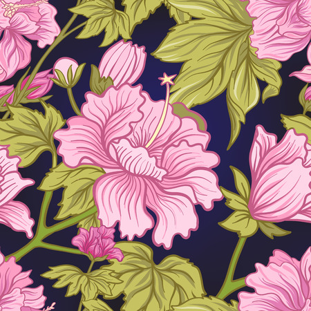 Seamless pattern with pink peony in Japanese style. Vector stock illustration. Illustration
