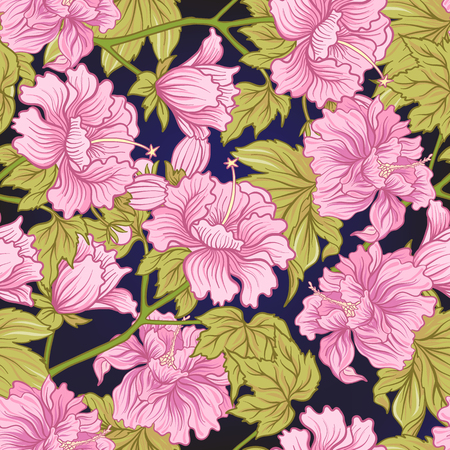 Seamless pattern with pink peony in Japanese style. Vector stock Иллюстрация