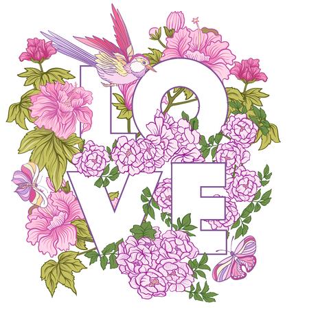 Affiche ou carte postale avec pivoine japonaise rose et roses sauvages et b Banque d'images - 86865642