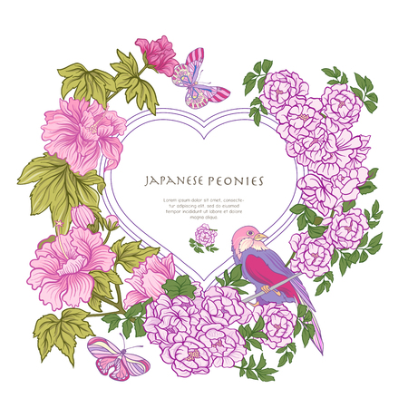 Poster or postcard with bird and butterfly and pink Japanese peo Illusztráció