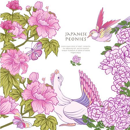 새와 나비와 핑크색 일본인의 포스터 또는 엽서 일러스트