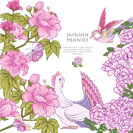 Poster or postcard with bird and butterfly and pink Japanese peo Ilustracja