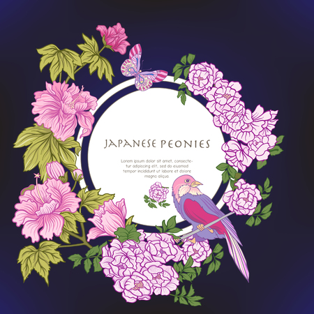 Poster or postcard with bird and butterfly and pink Japanese peo Illustration