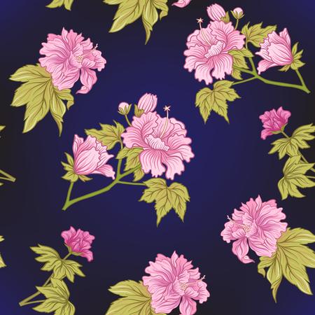 Seamless pivoine rose dans le style japonais . vector illustration Banque d'images - 86486622