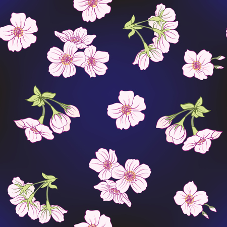 Seamless pattern with Japanese blossom sakura. Vector stock illu
