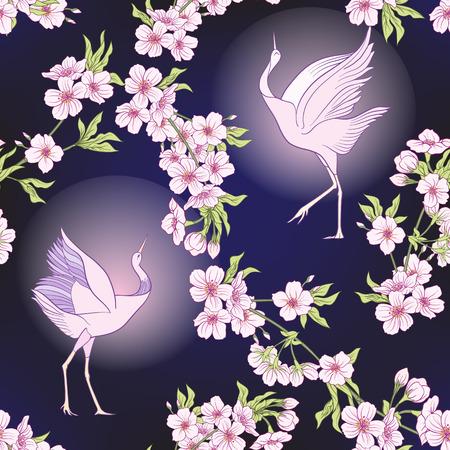 Seamless pattern with Japanese blossom sakura and crane, bird. Vector stock illustration.