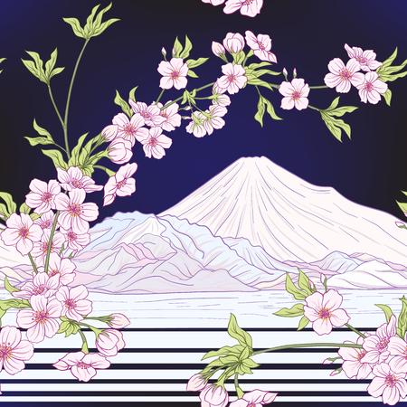 Seamless pattern with Japanese blossom sakura and Mount Fuji. Vector stock illustration.