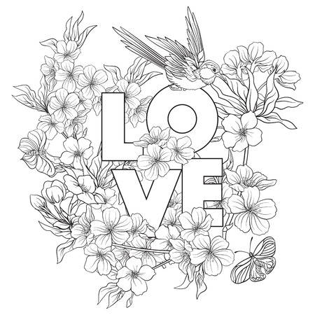 Illustrations with Japanese blossom sakura and with place for text. Outline drawing coloring page. Coloring book for adult.