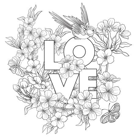 Illustrationen mit japanischer Blüte Kirschblüte und mit Platz für Text . Umrisszeichnung Malvorlage . Malbuch für Erwachsene