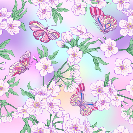 Seamless pattern with Japanese blossom sakura and butterflies. Vector stock illustration.