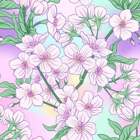 일본 꽃 사쿠라와 원활한 패턴입니다. 벡터 일러스트 레이 션.
