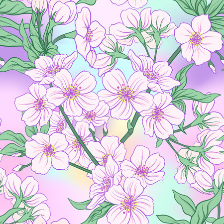 Seamless pattern with Japanese blossom sakura. Vector stock illustration.