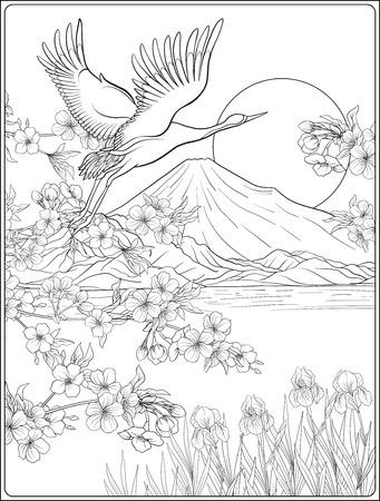 후지산과 전통 꽃과 일본 풍경