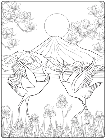 Japans landschap met berg Fuji en traditie bloemen en ab Stock Illustratie