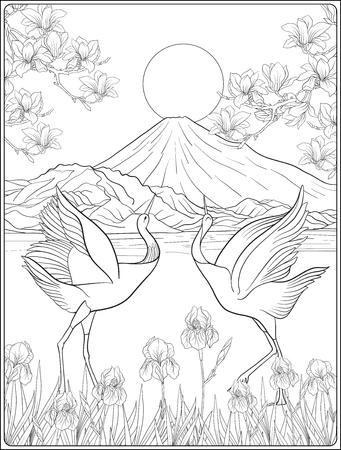 Paysage japonais avec le mont Fuji et fleurs traditionnelles et ab Banque d'images - 86486672