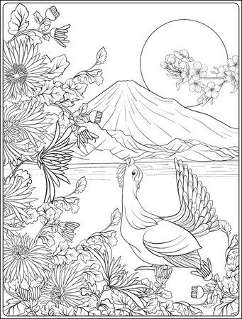 Paysage japonais avec le mont Fuji et fleurs traditionnelles et ab