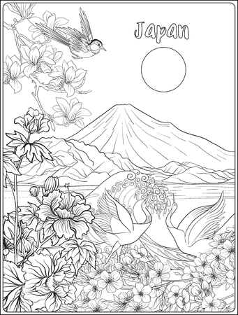 Japanese Landscape with Mount Fuji, sea, and Japanese woman kimo