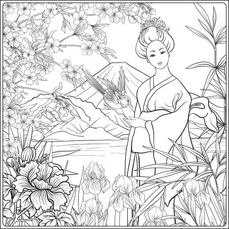Paisaje japonés con el Monte Fuji, el mar, y la mujer japonesa kimo