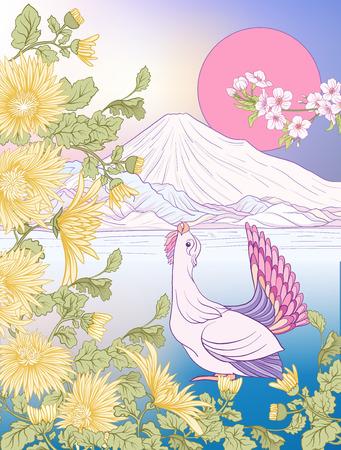 Multicolor illustration Japanese Landscape with Mount Fuji and t Illustration