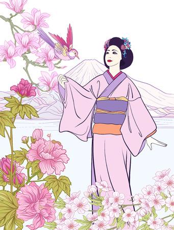 日本の風景富士山、海、日本人女性、キム  イラスト・ベクター素材