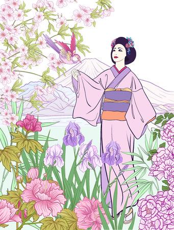 Japans landschap met berg Fuji, zee, Japanse vrouw in een kim